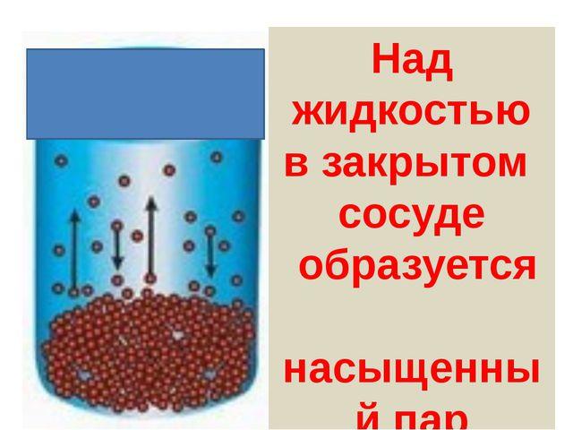 Температура испаряющейся жидкости понижается Над жидкостью в закрытом сосуде...