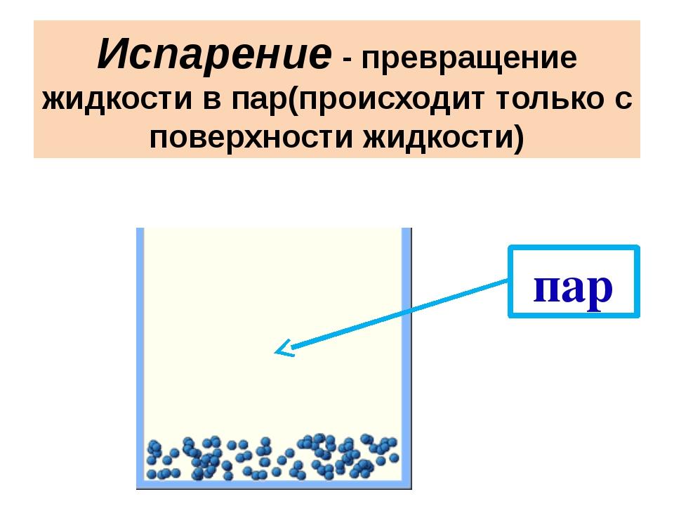 Испарение - превращение жидкости в пар(происходит только с поверхности жидкос...