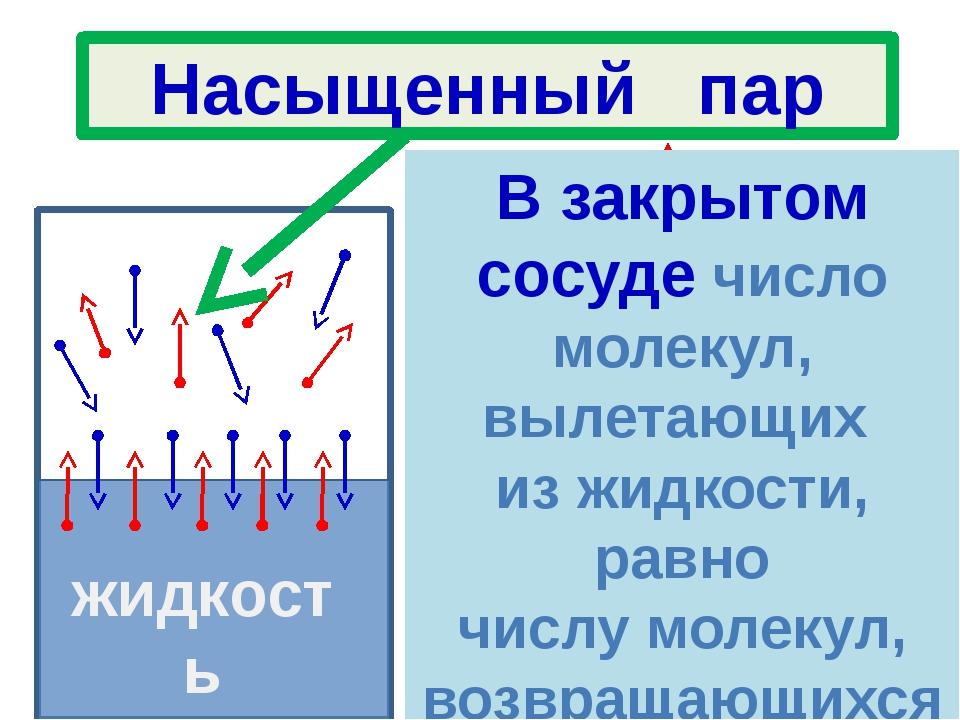 жидкость жидкость В закрытом сосуде число молекул, вылетающих из жидкости, р...