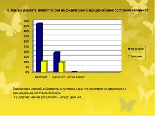 Большинство юношей действительно согласны с тем, что сон влияет на физическое