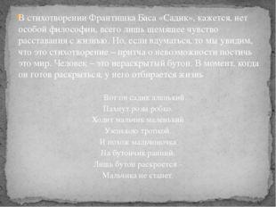В стихотворении Франтишка Баса «Садик», кажется, нет особой философии, всего