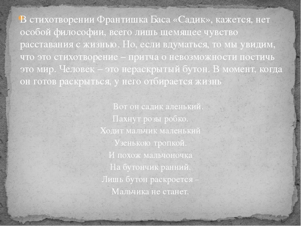 В стихотворении Франтишка Баса «Садик», кажется, нет особой философии, всего...