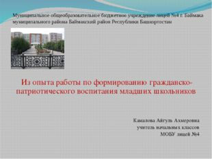 Муниципальное общеобразовательное бюджетное учреждение лицей №4 г. Баймака му