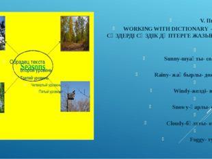 V. Пысықтау WORKING WITH DICTIONARY – ЖАҢА СӨЗДЕРДІ СӨЗДІК ДӘПТЕРГЕ ЖАЗЫП АЛУ