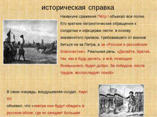 историческая справка Накануне сражения Пётр I объехал все полки. Его краткие