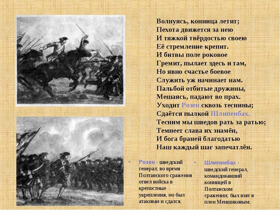 Волнуясь, конница летит; Пехота движется за нею И тяжкой твёрдостью своею Её...