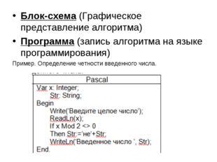 Блок-схема (Графическое представление алгоритма) Программа (запись алгоритма