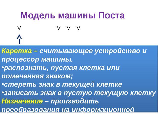 Модель машины Поста VVVV