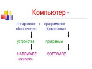 Компьютер = аппаратное + программное обеспечение обеспечение устройства прогр