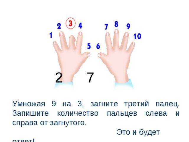 2 7 Умножая 9 на 3, загните третий палец. Запишите количество пальцев слева и...