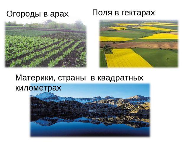 Огороды в арах Поля в гектарах Материки, страны в квадратных километрах