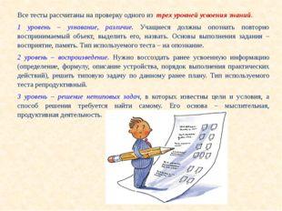 Все тесты рассчитаны на проверку одного из трех уровней усвоения знаний. 1 ур