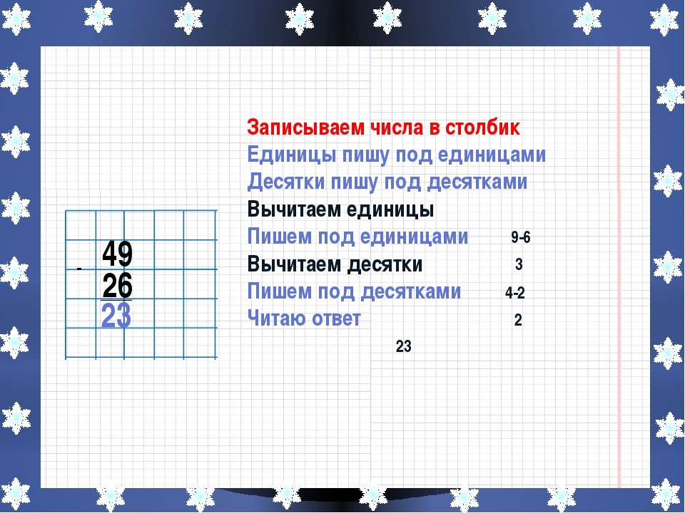 49 26 - ____ 23 Записываем числа в столбик Единицы пишу под единицами Десятк...