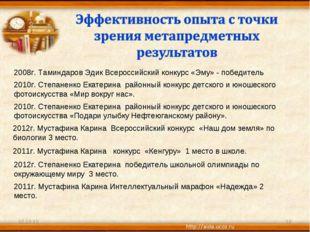 * * 2008г. Таминдаров Эдик Всероссийский конкурс «Эму» - победитель 2010г. Ст