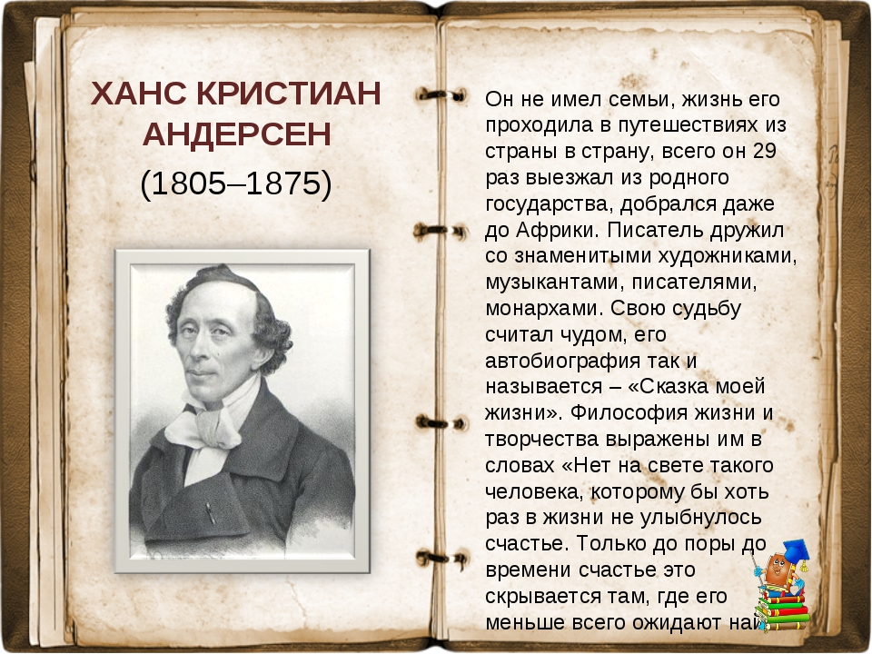 ХАНС КРИСТИАН АНДЕРСЕН (1805–1875) Он не имел семьи, жизнь его проходила в пу...