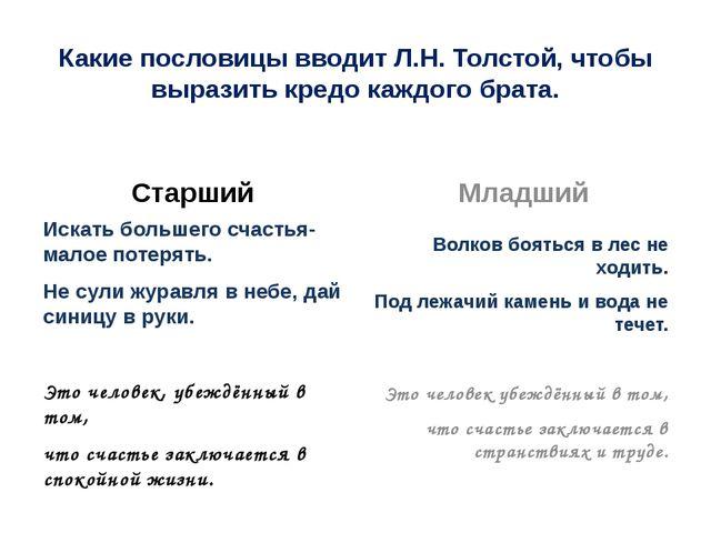 Какие пословицы вводит Л.Н. Толстой, чтобы выразить кредо каждого брата. Ста...