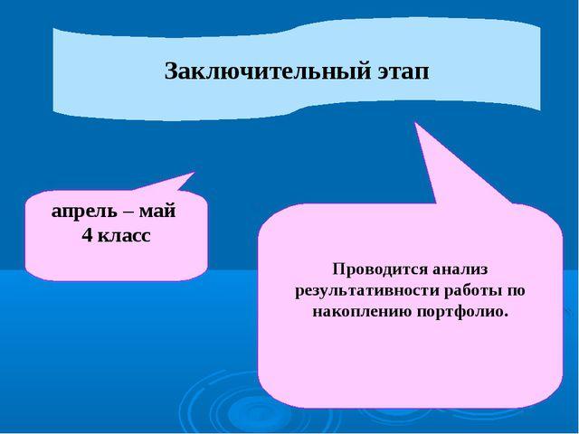 Заключительный этап апрель – май 4 класс Проводится анализ результативности р...
