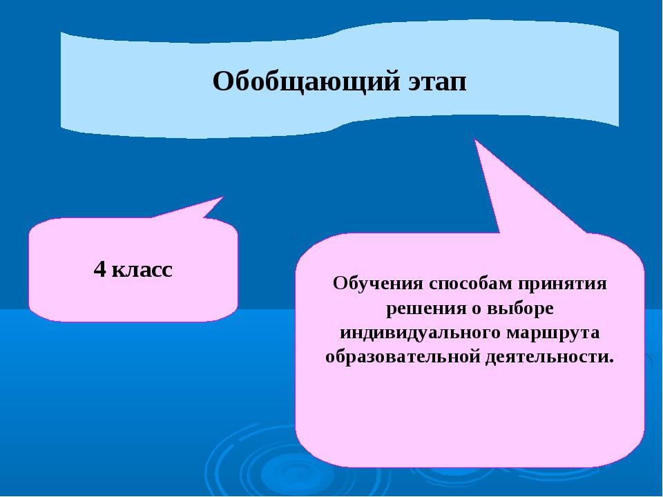 Обобщающий этап 4 класс Обучения способам принятия решения о выборе индивидуа...