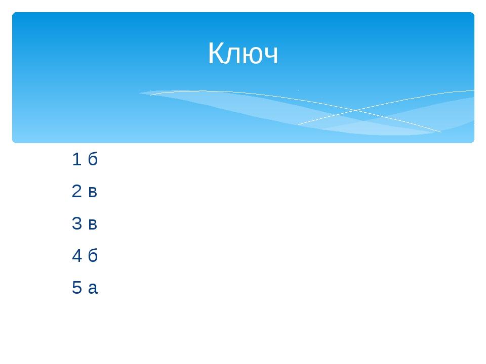 1 б 2 в 3 в 4 б 5 а Ключ