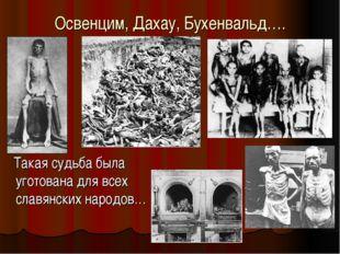 Освенцим, Дахау, Бухенвальд…. Такая судьба была уготована для всех славянских
