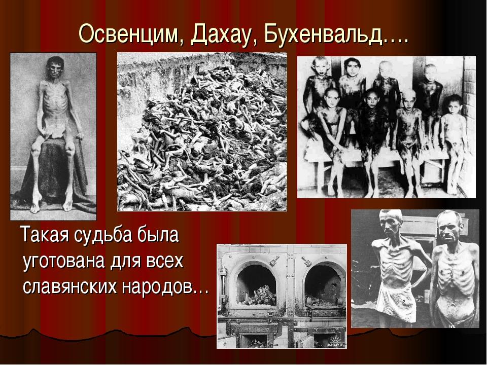 Освенцим, Дахау, Бухенвальд…. Такая судьба была уготована для всех славянских...