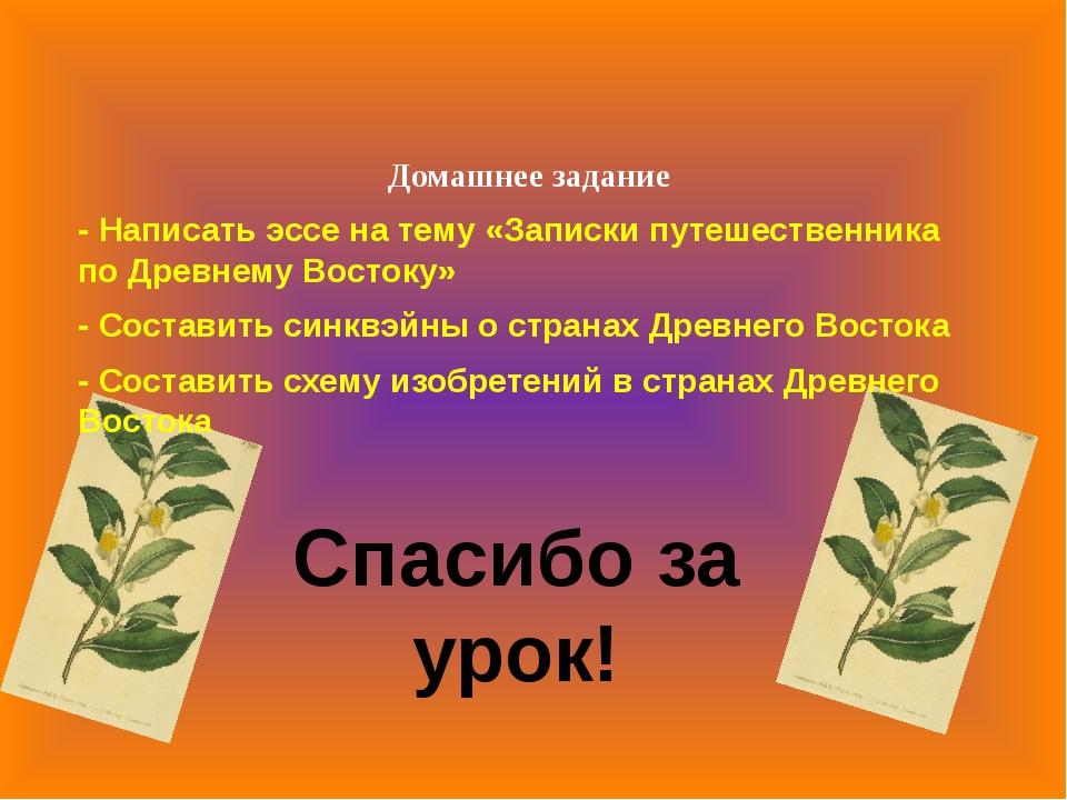 Домашнее задание - Написать эссе на тему «Записки путешественника по Древнем...