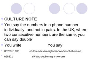 CULTURE NOTE You say the numbers in a phone number individually, and not in p