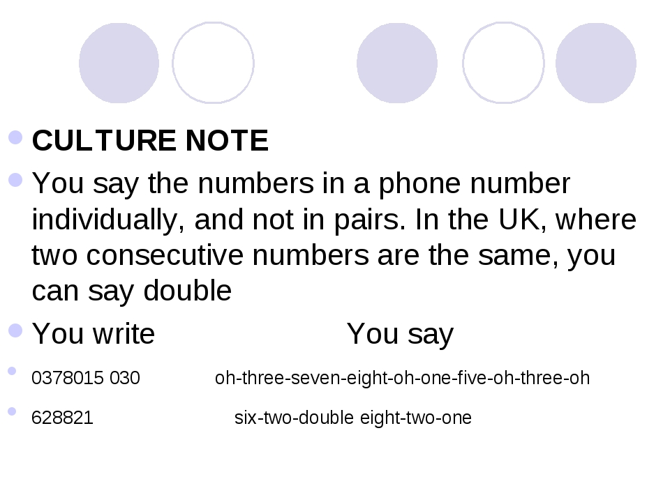 CULTURE NOTE You say the numbers in a phone number individually, and not in p...