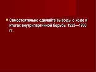 Самостоятельно сделайте выводы о ходе и итогах внутрипартийной борьбы 1923—19