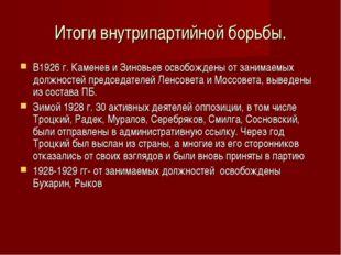 Итоги внутрипартийной борьбы. В1926 г. Каменев и Зиновьев освобождены от зани