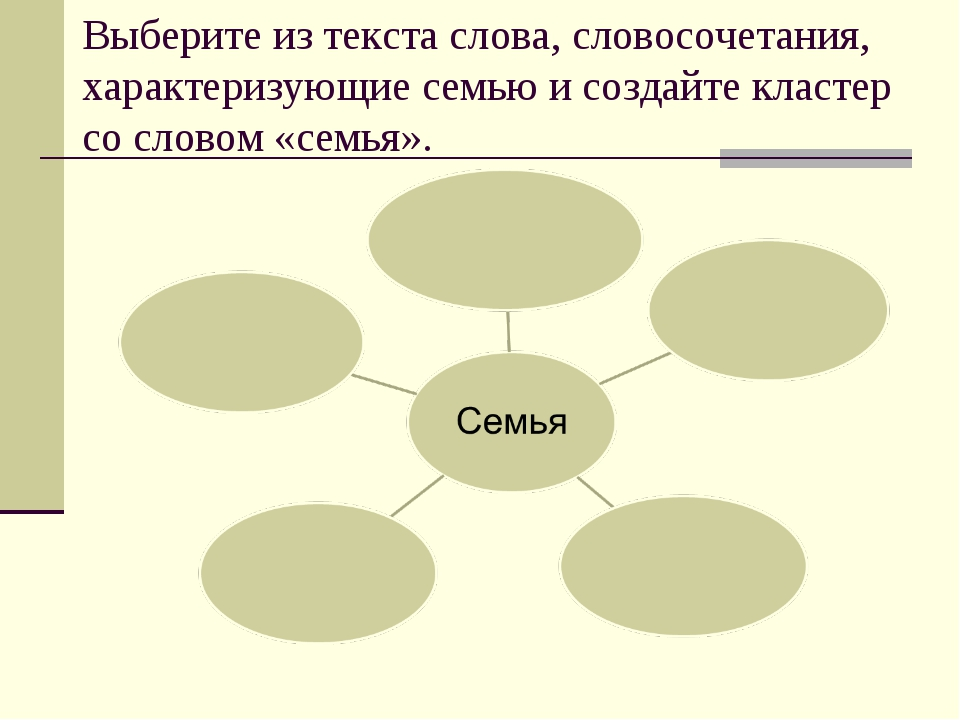 Выберите из текста слова, словосочетания, характеризующие семью и создайте кл...
