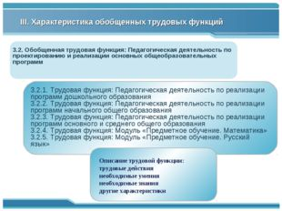 III. Характеристика обобщенных трудовых функций 3.2. Обобщенная трудовая функ
