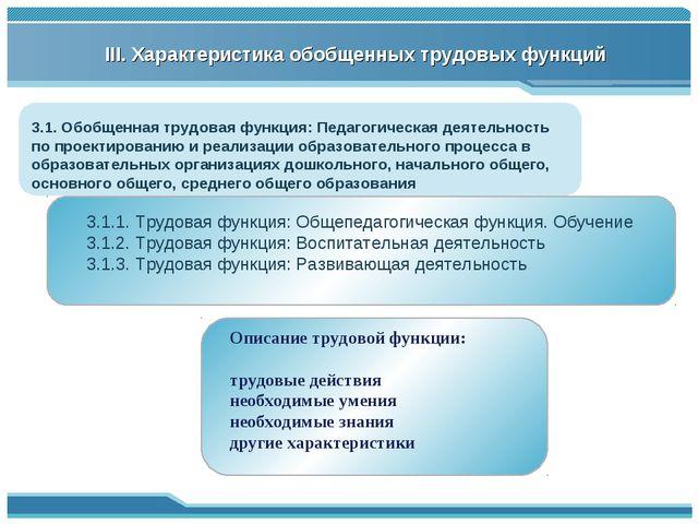 3.1. Обобщенная трудовая функция: Педагогическая деятельность по проектирован...