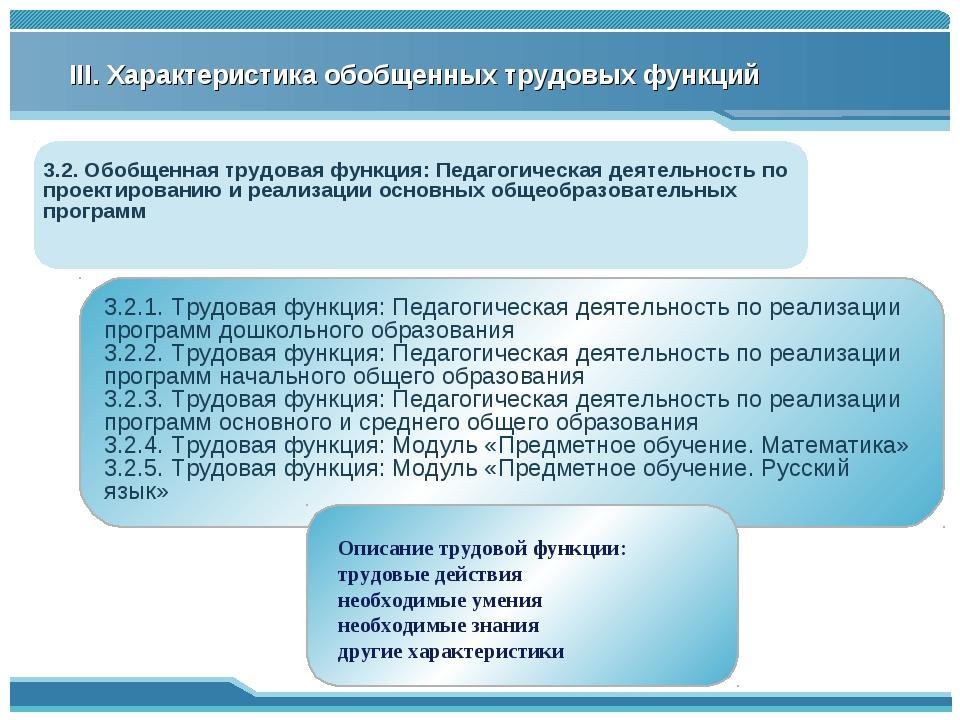 III. Характеристика обобщенных трудовых функций 3.2. Обобщенная трудовая функ...