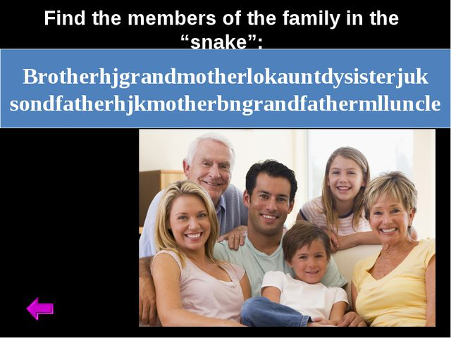 "Find the members of the family in the ""snake"": Brotherhjgrandmotherlokauntdy..."