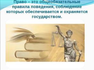 Право – это общеобязательные правила поведения, соблюдение которых обеспечива