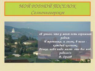 МОЙ РОДНОЙ ПОСЕЛОК Солнечногорское «Я узнал, что у меня есть огромная родня: