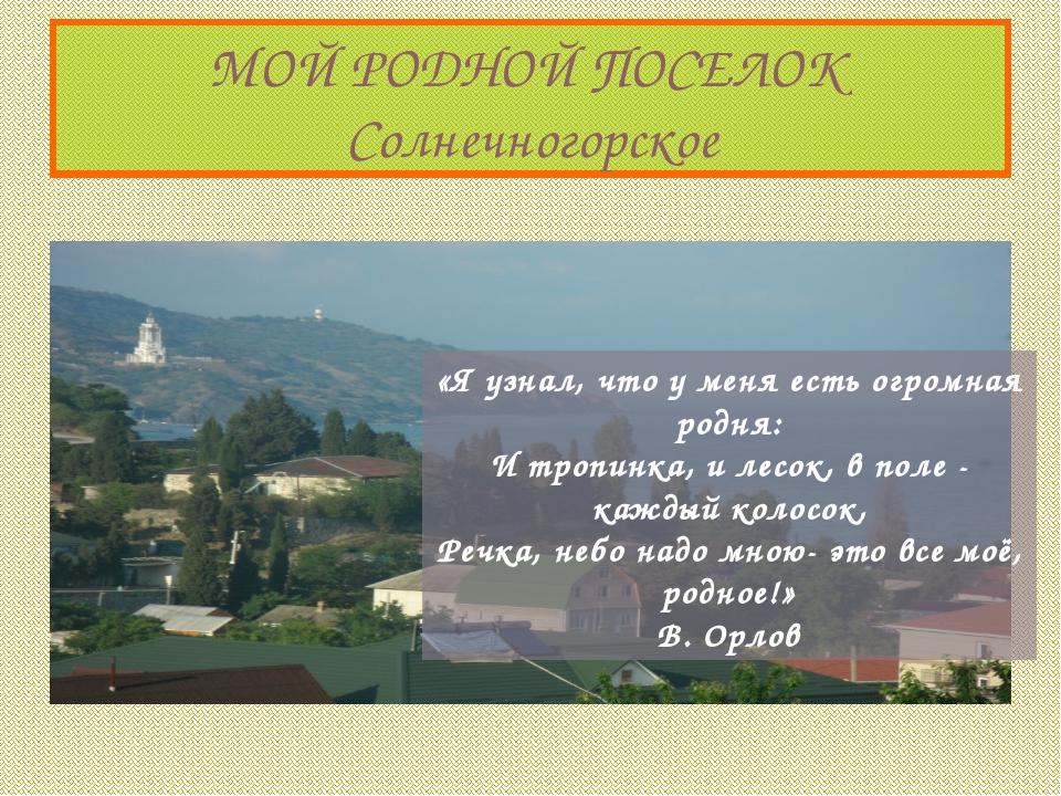 МОЙ РОДНОЙ ПОСЕЛОК Солнечногорское «Я узнал, что у меня есть огромная родня:...