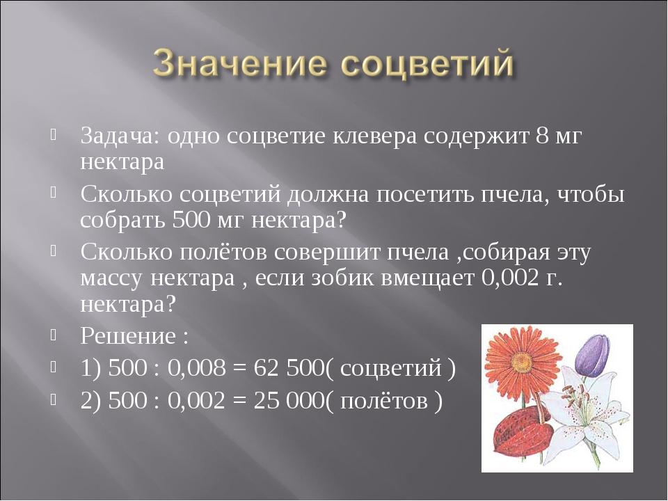 Задача: одно соцветие клевера содержит 8 мг нектара Сколько соцветий должна п...