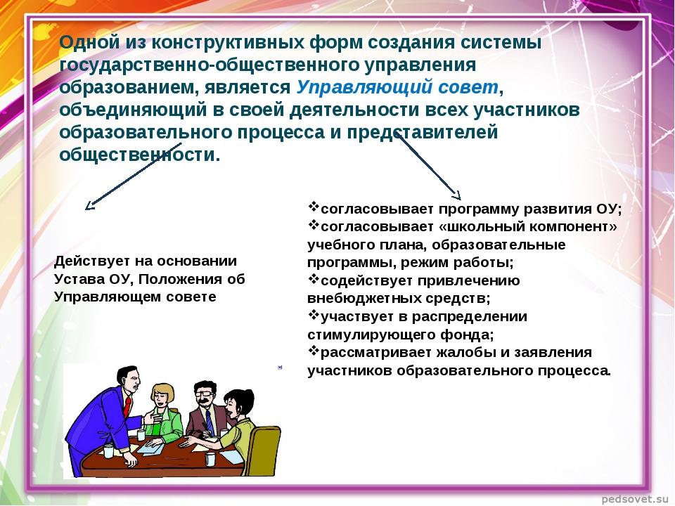 Одной из конструктивных форм создания системы государственно-общественного уп...