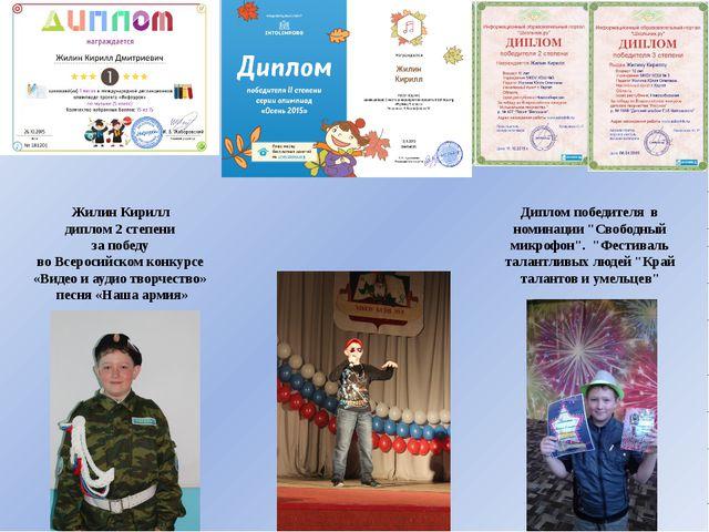 Жилин Кирилл диплом 2 степени за победу во Всеросийском конкурсе «Видео и ау...
