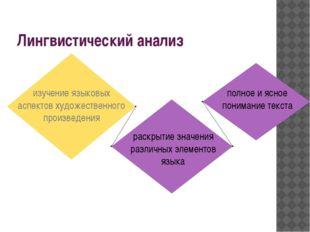 Лингвистический анализ изучение языковых аспектов художественного произведени
