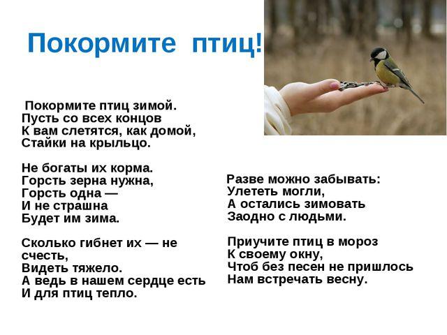 Покормите птиц! Покормите птиц зимой. Пусть со всех концов К вам слетятся, ка...