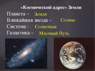 «Космический адрес» Земли Планета – Ближайшая звезда – Система - Галактика –