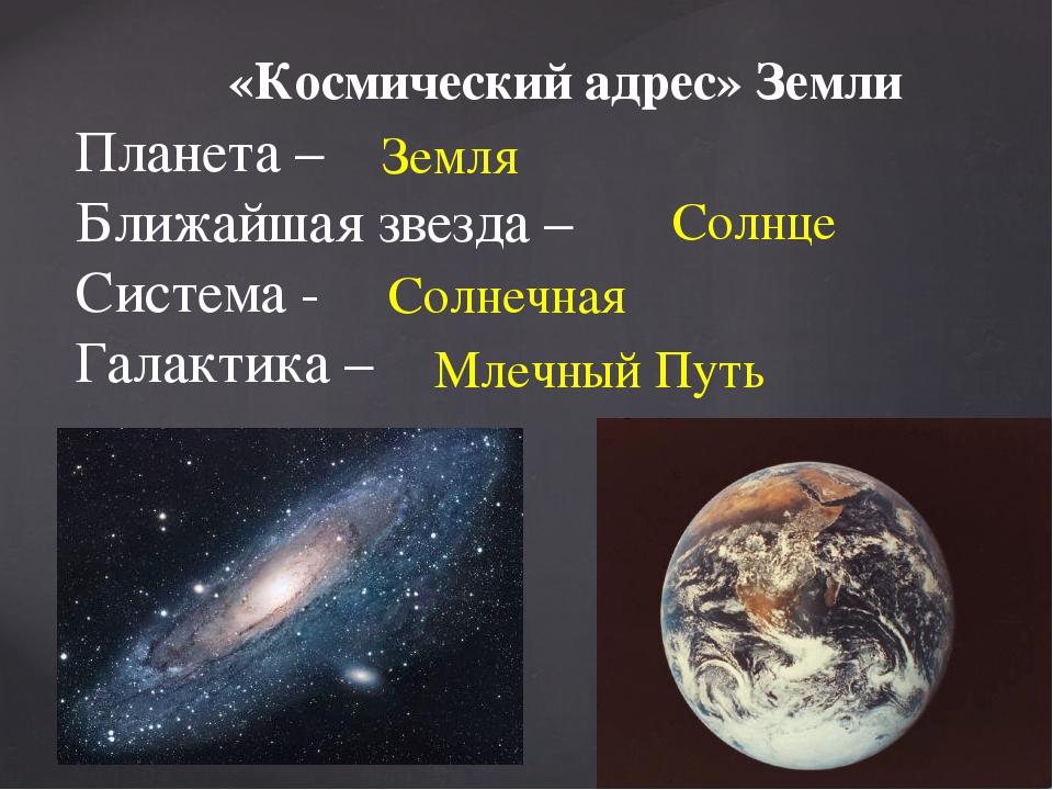 «Космический адрес» Земли Планета – Ближайшая звезда – Система - Галактика –...
