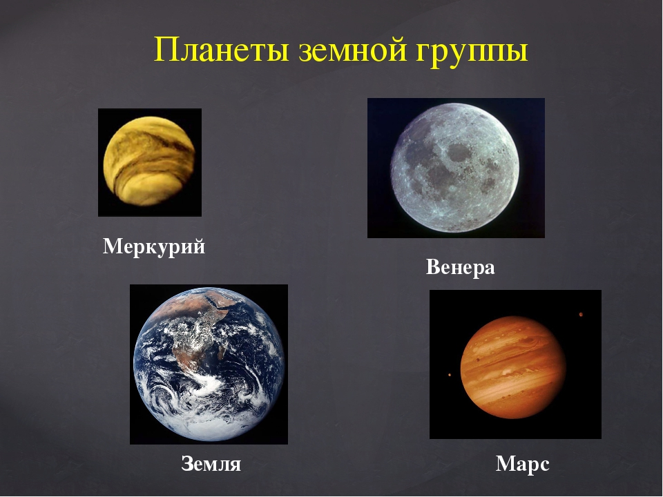 Планеты земной группы Меркурий Венера Земля Марс