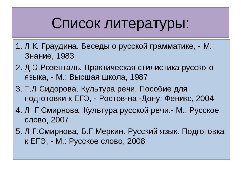 Список литературы: 1. Л.К. Граудина. Беседы о русской грамматике, - М.: Знани...