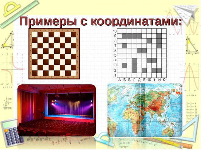 Примеры с координатами: