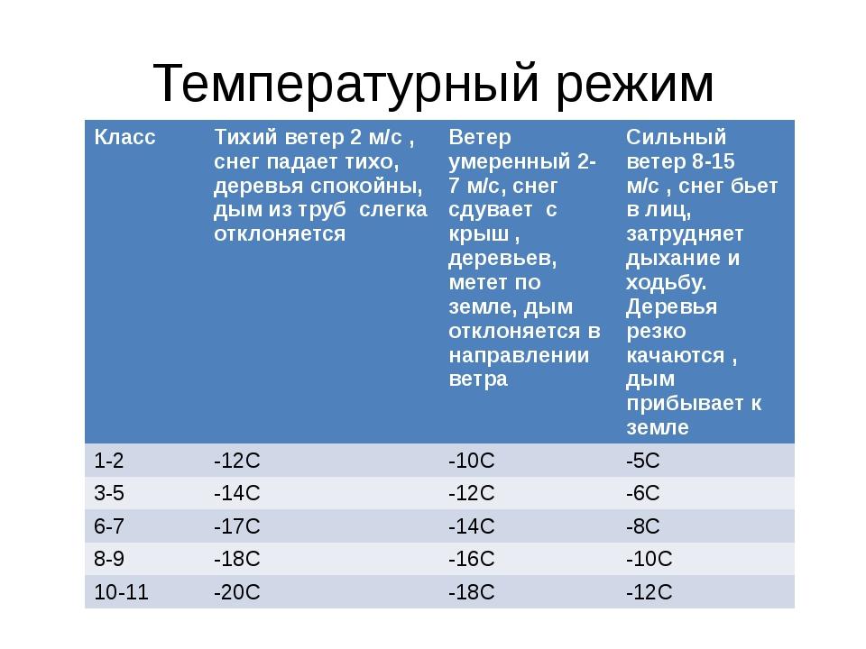 Температурный режим Класс Тихий ветер 2 м/с, снег падает тихо, деревья спокой...