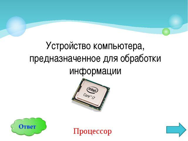 Устройство компьютера, предназначенное для обработки информации Процессор